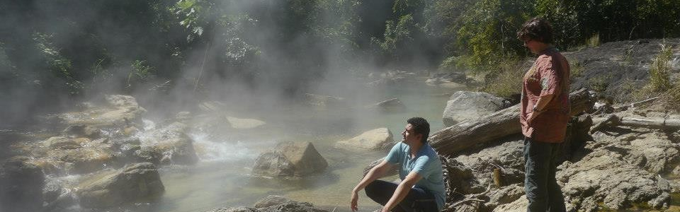 steaming rocks and visitors